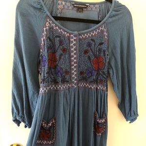French Connection blue patterned peasant dress